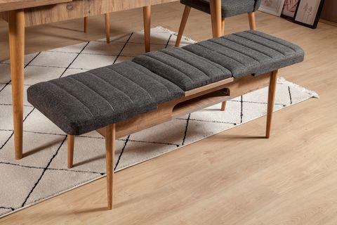 Vina Extendable Bench, Dark Grey & Oak