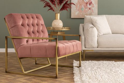 Eliza Velvet Armchair, Dusty Rose