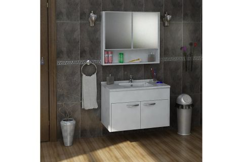 Mond Under Sink and Wall Mounted Bathroom Cabinet with Sink, White