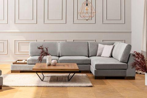 Tulip Corner Chaise Sofa, Right, Grey