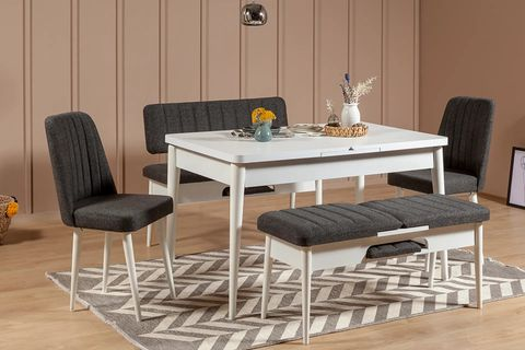 Vina 4-6 Seat Extendable Dining Table, White