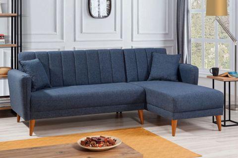 Aqua Corner Chaise Sofa Bed, Right, Navy Blue