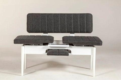 Vina Extendable Bench with Backrest, Dark Grey & White
