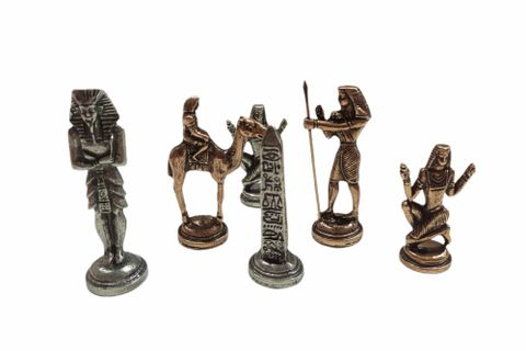 LİVAVA MEZOPOTAMYA FİGÜRLÜ SATRANÇ SETİ MERMER TABLALI GÜMÜŞ-BRONZ