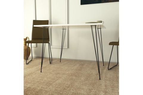 Pasific 2-4 Seat Fixed Dining Table, White (High Gloss) & Black