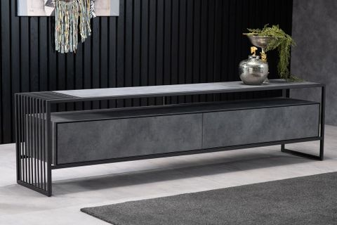 Brazil TV Stand, Grey Marble, 220 cm