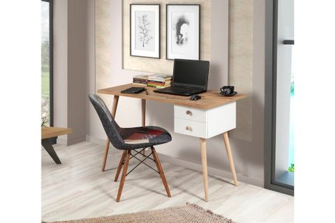 Bali Study Table, Walnut & White