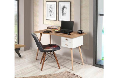 Bali Study Table, Walnut & White