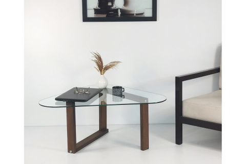 Glass Coffee Table, Dark Wood