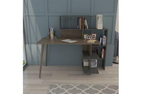 Lagomood Space Desk, Grey & Dark Wood