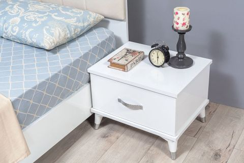 Class Bedside Table, White