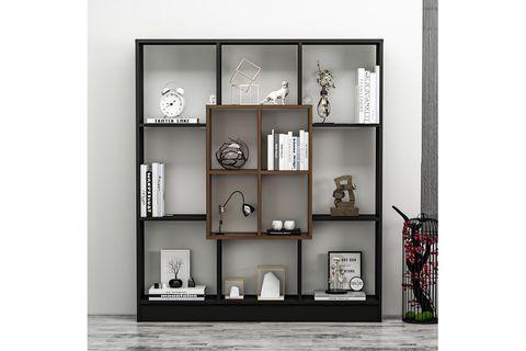 Betroya Mars Bookcase, Dark Wood and Black