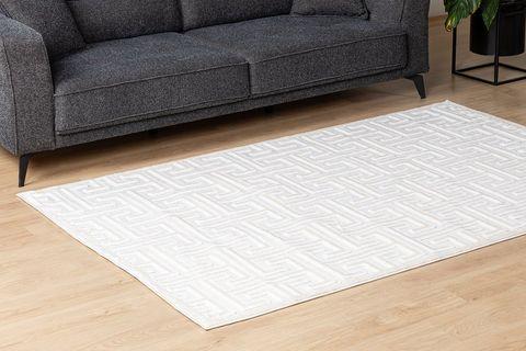 Julie Greek Key Woven Rug, 80 x 150, White