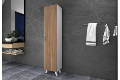 Rula Multipurpose Bathroom Cabinet, White & Dark Wood