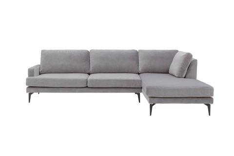 Matilda Corner Sofa, Velvet Grey (Right)