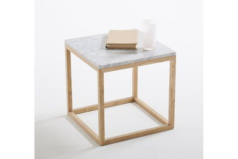 Tae Marble Side Table, White Marble & Light Wood