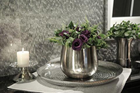 Moena Wide Metal Vase, Silver