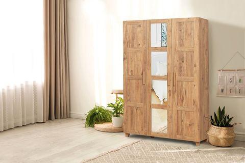 Victoria 3 Door Mirrored Wardrobe, Oak