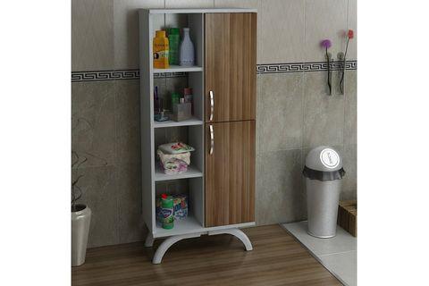Pandora Multipurpose Bathroom Cabinet, White & Dark Wood