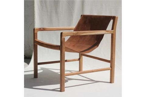 Sohomanje Solid Wood Natural Leather Armchair, Brown & Light Wood