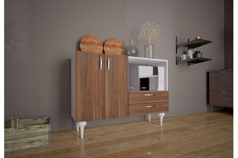 Ignis Multipurpose Kitchen Cabinet, White & Dark Wood