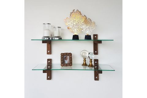 Neostyle - Wall Shelf - Bookcase - Tempered Glass And Solid Wood