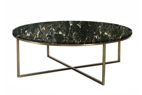 Linos Marble Coffee Table, Black Marble & Brass