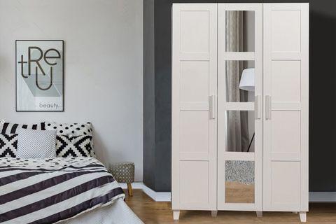 Victoria 3 Door Mirrored Wardrobe, White