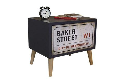 Baker Bedside Table, Grey