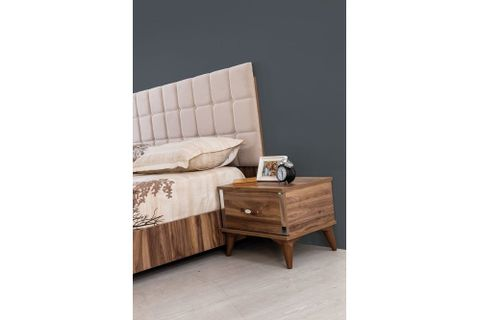 Narciso Bedside Table, Dark Wood