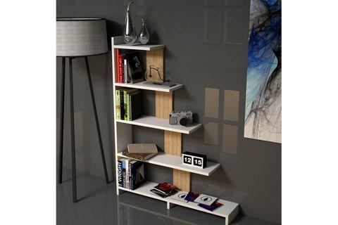 Step Bookcase, White & Light Wood