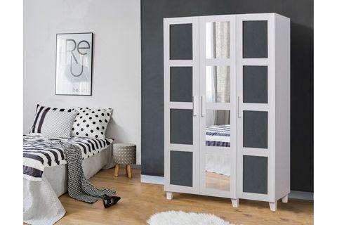 Victoria Wardrobe With Mirror, White & Dark Grey