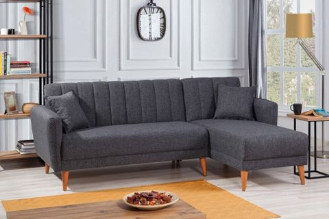 Aqua Corner Sofa Bed, Anthracite Grey (Right)