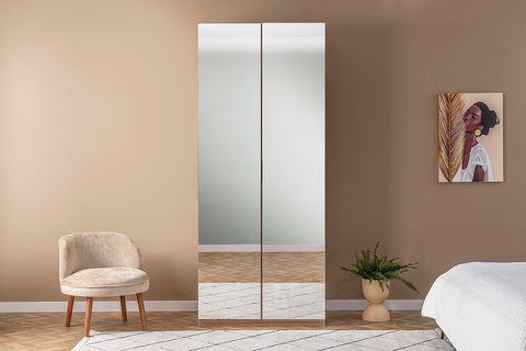 Eti Two Door Wardrope with Mirror, Light Wood