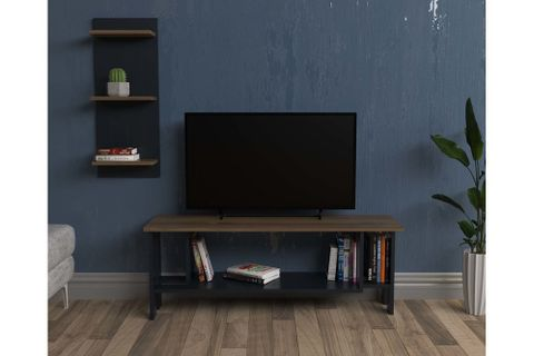 Lagomood Ilya TV Stand, 121 cm, Dark Wood & Grey
