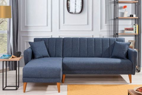 Aqua Corner Sofa Bed, Navy Blue (Left)