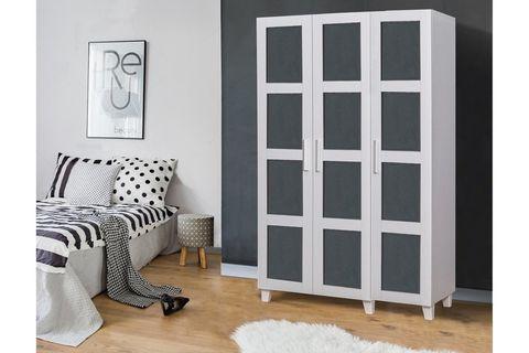 Victoria Wardrobe, White & Dark Grey