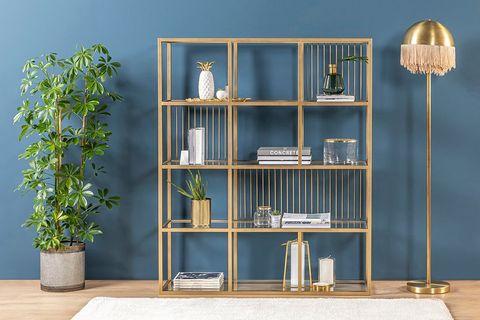 Lola Small Bookcase, Brass