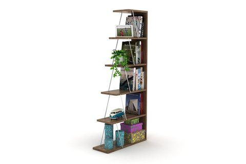 Rafevi Bookcase, Dark Wood & Chrome