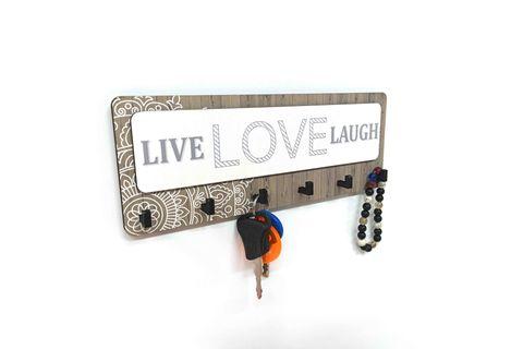 DİKDÖRTGEN LIVE LOVE LOUGH GRİ AHŞAP MODERN ANAHTARLIK DEKOR