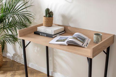 Loft Home Desk, Light Wood & Black