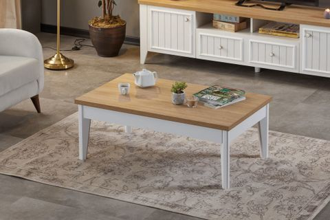 Lorin Coffee Table, Light Wood & White