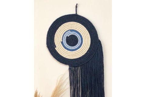 Macrame Evil Eye Wall Decor, Ecru & Blue & Navy