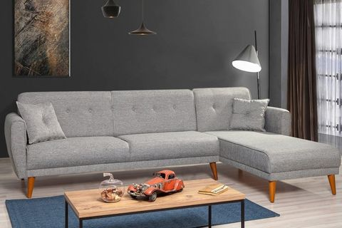 Aria Corner Sofa Bed, Grey (Right)