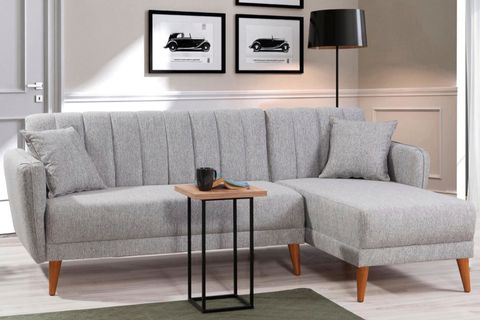 Aqua Corner Sofa Bed, Grey (Right)