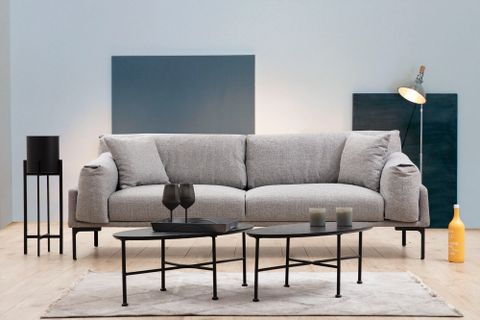 Leo Three Seater Sofa, Grey & Black