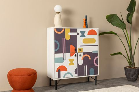 Sia Multipurpose Cabinet, White & Multi