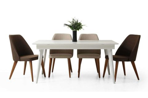 Texas 6-8 Seat Fixed Dining Table, White (High Gloss)