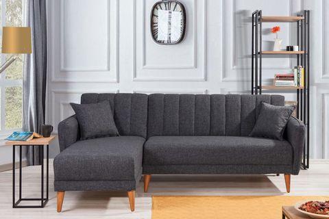Aqua Corner Sofa Bed, Anthracite Grey (Left)