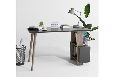 Lagomood Side Desk, Grey & Dark Wood